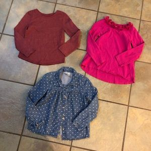 Set of 3 long sleeves shirts girls size 4